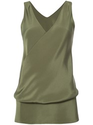 Peter Cohen Draped Silk Blouse Green