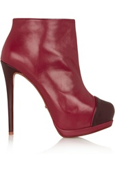 Schutz Two Tone Leather Ankle Boots Red