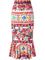 Dolce And Gabbana Mambo Print Peplum Skirt Pink Purple