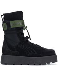 Fenty Puma By Rihanna X High Ankle Lace Up Scuba Boots Black