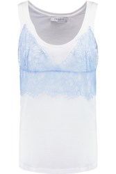 Sandro Truelove Cotton Blend Jersey And Lace Tank White