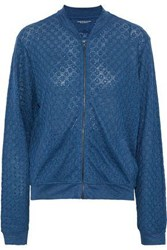 Majestic Filatures Woman Embroidered Linen Jersey Bomber Jacket Blue