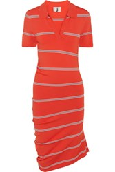 Topshop Unique Margot Asymmetric Striped Stretch Knit Dress Red