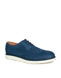Bellfield Suede Brogues With Wedge Sole Navy