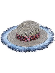Etro Fringed Woven Hat Women Silk Paper Feather 57