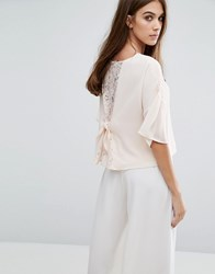 Warehouse Lace Insert Bow Detail Blouse Cream