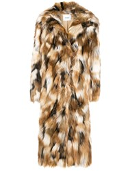 Dondup Faux Fur Coat Nude And Neutrals