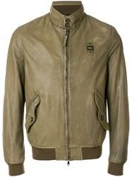 Blauer Band Collar Bomber Jacket Green