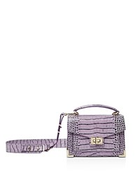 The Kooples Emily Croc Embossed Leather Mini Crossbody Purple