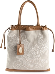 Etro Floral Paisley Embroidered Tote Nude And Neutrals