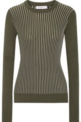 Equipment Shane Ribbed Cotton Blend Sweater Army Green