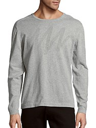 Perforated Long Sleeve Cotton Pullover Grey