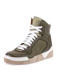 Givenchy Tyson Leather High Top Sneaker Green