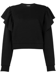Red Valentino Ruffled Sweatshirt Black