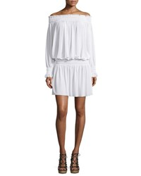 Norma Kamali Long Sleeve Off The Shoulder Peasant Dress White