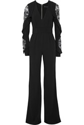 Elie Saab Lace Paneled Ruffled Stretch Cady Jumpsuit Black