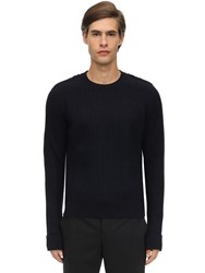 Neil Barrett Shetland Wool Knit Sweater Navy