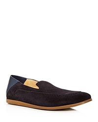 Kenneth Cole Place Suede Apron Toe Convertible Smoking Slippers Navy
