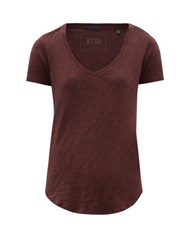 Atm Anthony Thomas Melillo Scooped V Neck Slubbed Cotton T Shirt Burgundy