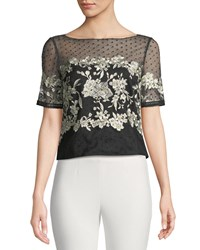 Marchesa Tulle Top W Floral Embroidery White Black