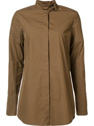 Vera Wang Embroidered Button Down Nude And Neutrals