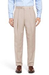 Linea Naturale Men's Big And Tall Pleated Microfiber Dress Pants Tan