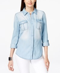 Inc International Concepts Split Back Denim Shirt Only At Macy's