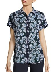 Lafayette 148 New York Irina Cotton Floral Print Blouse Ink Multi