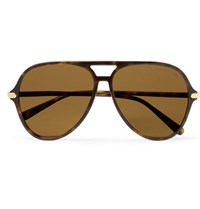 Brioni Aviator Style Tortoiseshell Acetate Sunglasses Brown