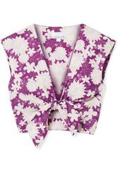 Miguelina Marcy Cropped Tie Front Floral Print Cotton Voile Top Violet