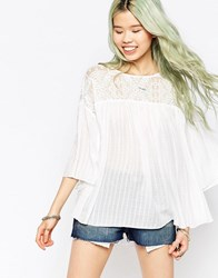 Hazel Lace Panel Boho Blouse White