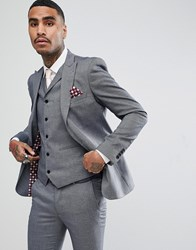 Rudie Light Grey Jacquard Skinny Fit Suit Jacket