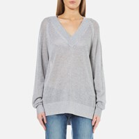 Michael Michael Kors Women's Hi Lo V Neck Sweatshirt Peal Heather Grey