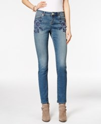 Inc International Concepts Embroidered Sail Wash Skinny Jeans Only At Macy's Indigo