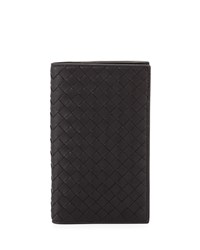 Bottega Veneta French Woven Leather Wallet Black