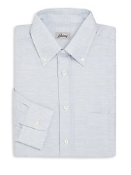 Brioni Regular Fit Linen And Cotton Dress Shirt Light Grey