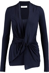 Bailey 44 Draped Stretch Jersey Top Navy