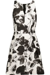 Milly Floral Print Cotton Blend Twill Mini Dress Off White