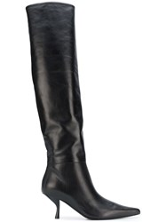 The Row Thigh Length Pointed Boots Black