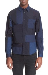 Men's White Mountaineering Trim Fit Patchwork Shirt