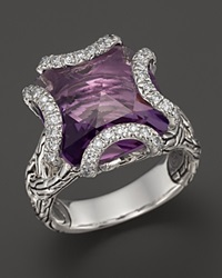John Hardy Batu Classic Chain Sterling Silver Medium Braided Ring With Amethyst And Diamonds Silver Purple