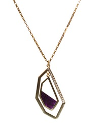 Kara Ross Goldtone Double Geometric Pendant Necklace With Amethyst Amethyst Gold
