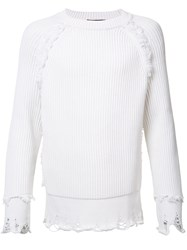 Haider Ackermann Classic Knitted Sweater Men Cotton L White
