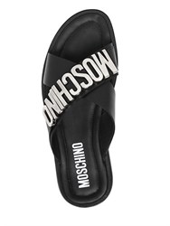 Moschino Logo Lettering Leather Slide Sandals