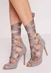 Missguided Ribbon Lace Up Peep Toe Court Shoes Grey Grey