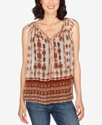 Lucky Brand Cap Sleeve Printed Peasant Blouse Natural Multi