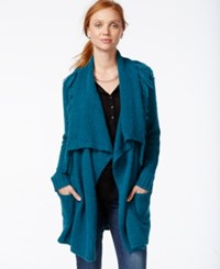 G.H. Bass And Co. Open Front Draped Collar Cardigan Deep Turquoise