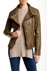 Soia And Kyo Asymmetrical Moto Leather Jacket Green