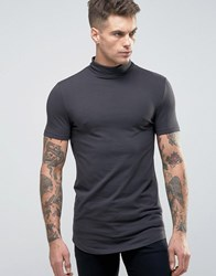 Asos Longline Muscle T Shirt With Turtle Neck And Curved Hem In Black Bal