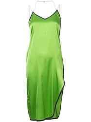 Adam Selman Asymmetric Satin Slip Dress Green
